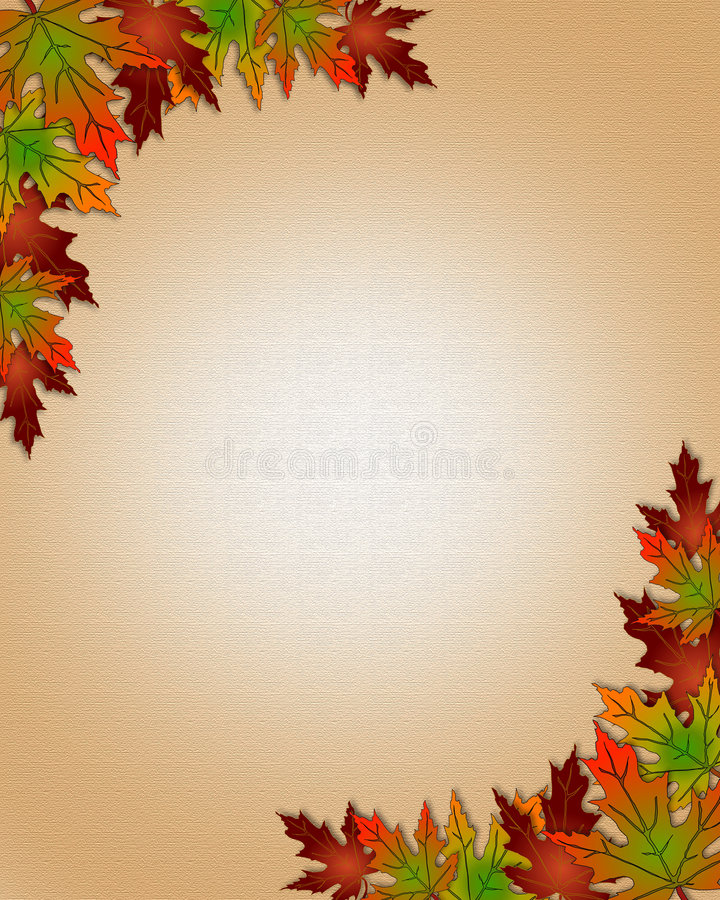 Autumn Fall Leaves Border Frame. Illustration composition of colorful fall leaves for invitation, border or background with copy space stock illustration