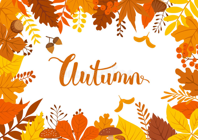 Autumn fall leaves branches twigs background. Autumn fall leaves branches twigs frame background stock illustration