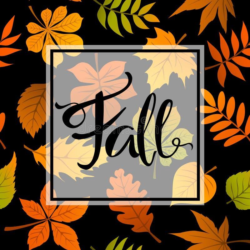 Autumn fall leaves foliage background on seamless pattern. Texure stock illustration