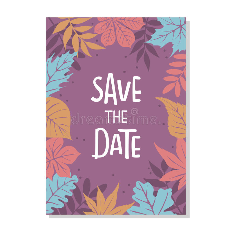 Autumn fall leaves foliage border save the date wedding invitation background. Template with handwritten lettering text royalty free illustration