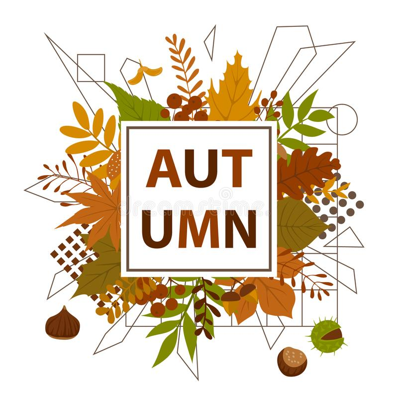Autumn fall leaves frame background. With geometric elements stock illustration