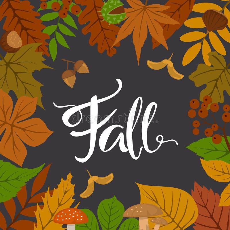 Autumn fall leaves frame border. Background royalty free illustration