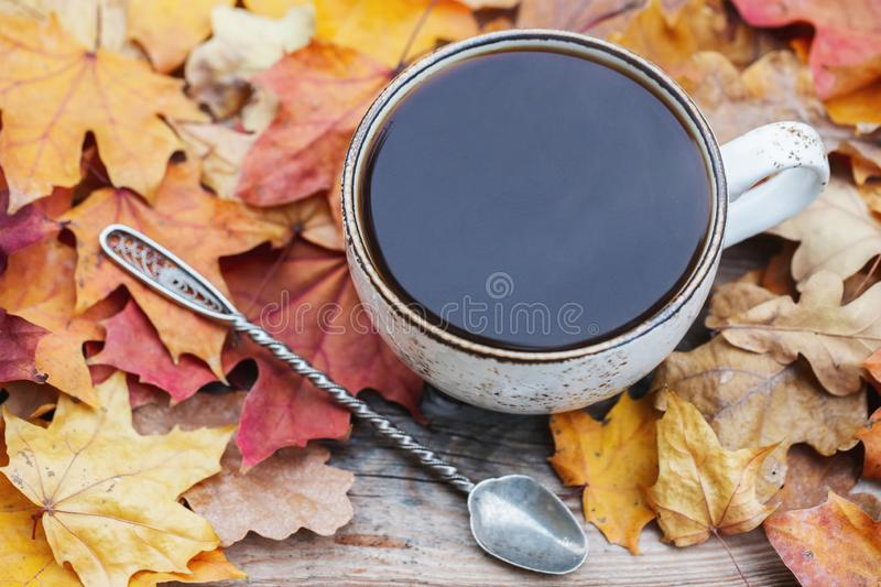 Autumn, fall leaves, hot steaming cup of coffee on wooden table background. Seasonal, morning coffee, Sunday relaxing. And still life concept stock image