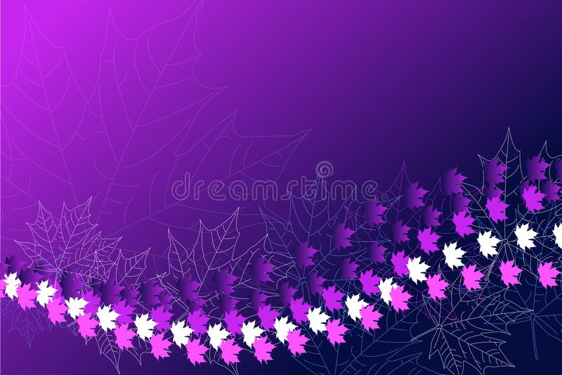 Autumn fall leaves. Leaf pattern background. Vector illustration for webpages. Purple leaves. Eps 10. Ultraviolet color stock illustration