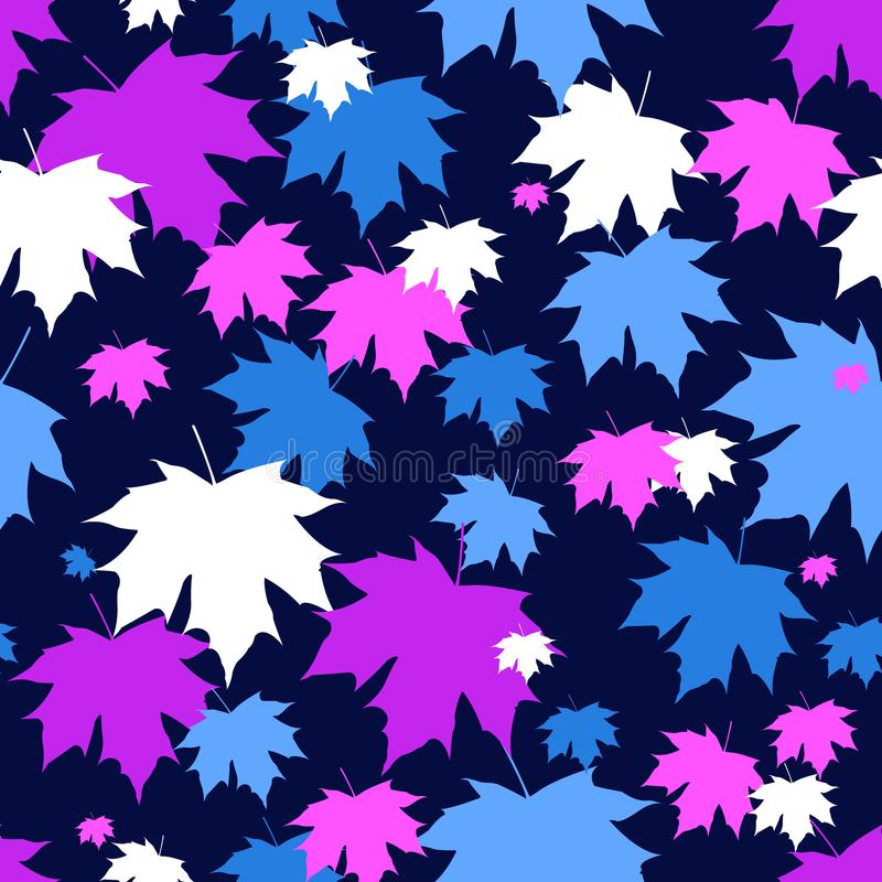 Autumn fall leaves. Leaf pattern background. Vector illustration for webpages. Purple, blue and white leaves. Eps 10. Ultraviolet color stock illustration