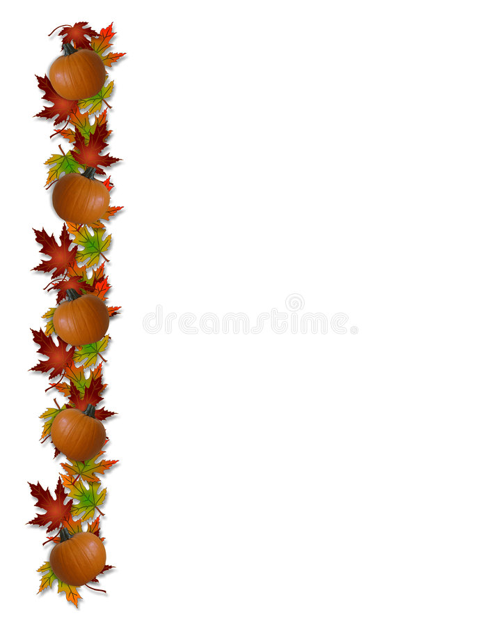 Autumn Fall Leaves and Pumpkins Border. Image and Illustration composition of colorful fall leaves for invitation, border or background with copy space royalty free illustration