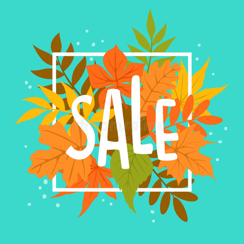 Autumn fall leaves sale banner background. Hadnwritten text royalty free illustration