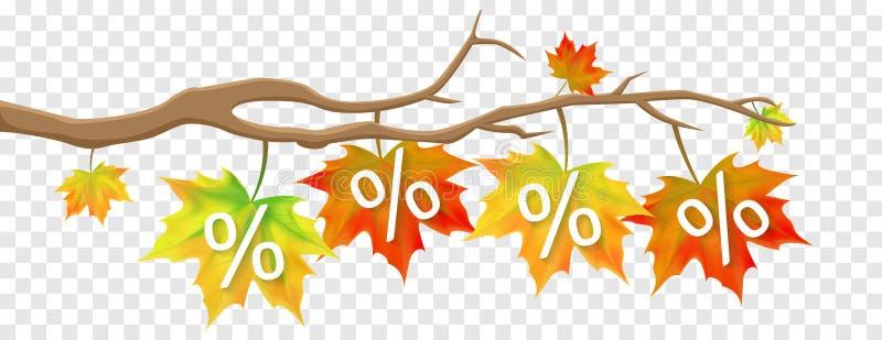 Autumn Fall Leaves Sale Promotion oferece o vetor isolado disconto ilustração do vetor