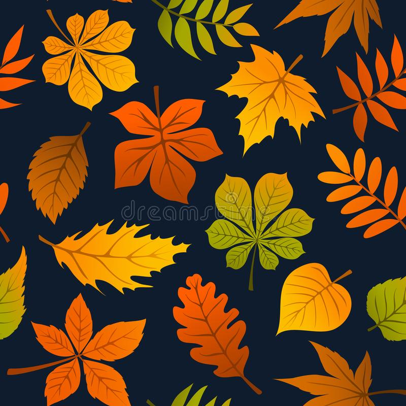 Autumn fall leaves seamless pattern. Texture royalty free illustration
