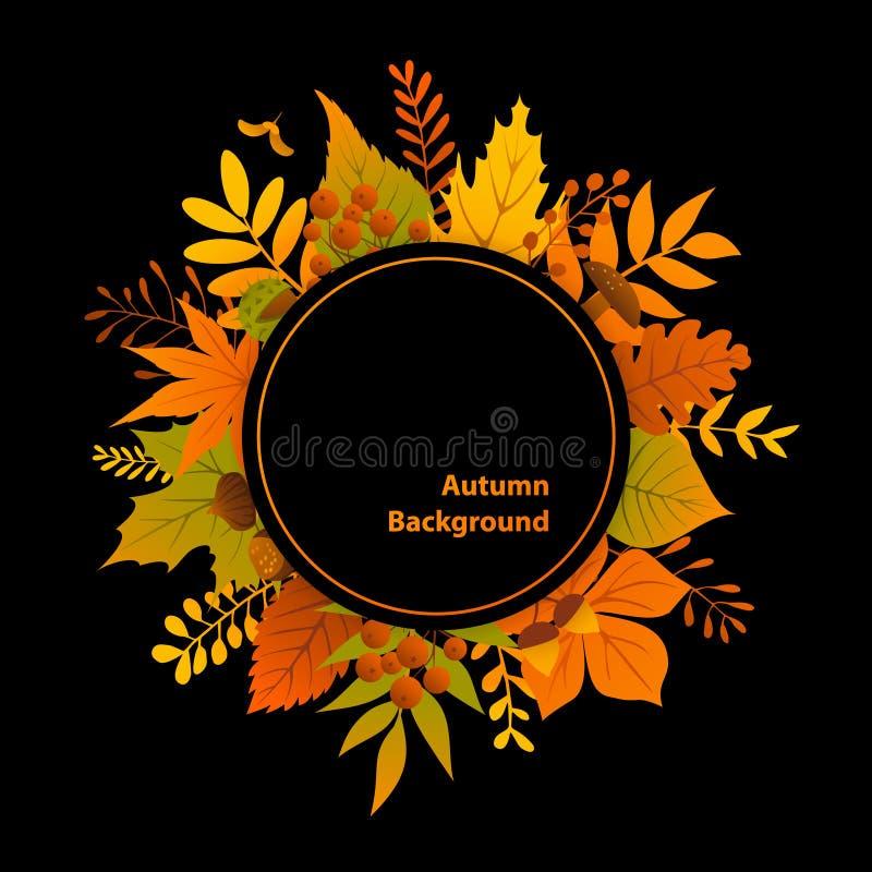 Autumn fall leaves seasonal frame circle background. On black vector illustration