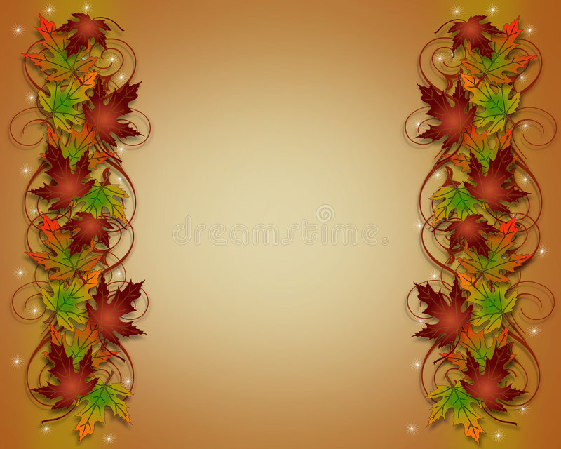 Autumn Fall Leaves Thanksgiving Border. Illustration composition of colorful fall leaves for Thanksgiving invitation, Autumn border or background with copy space vector illustration