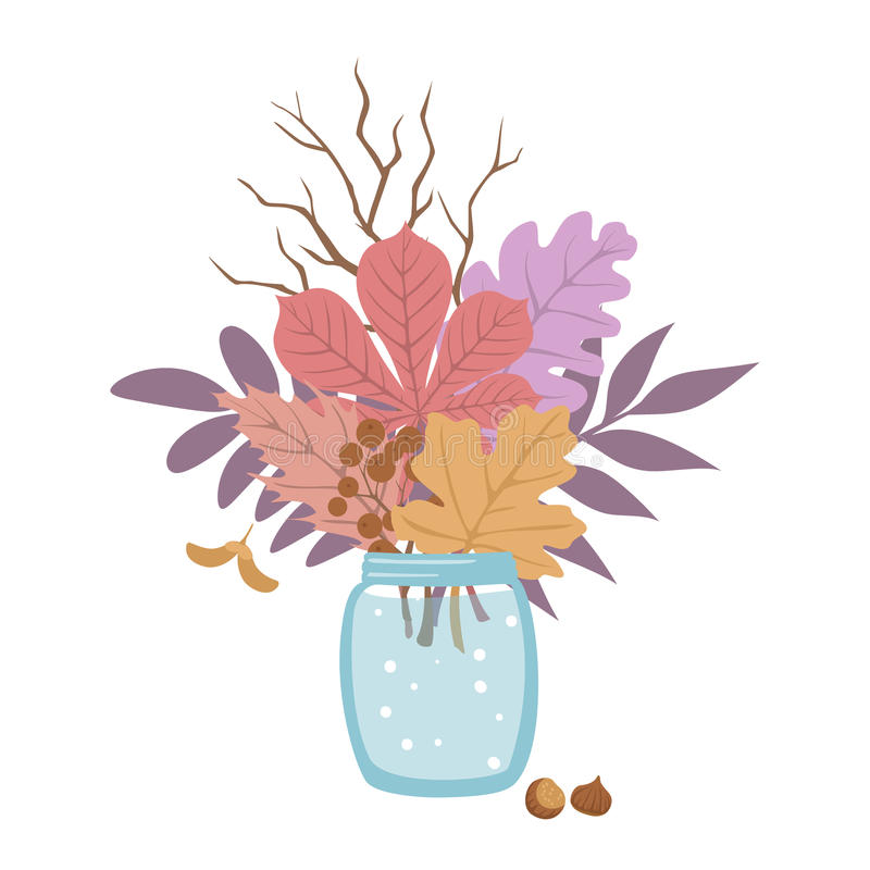 Autumn fall leaves twigs arrangement in jar. Autumn fall leaves twigs arrangement in glass jar vector illustration