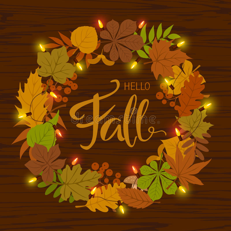 Autumn fall leaves wreath with festive light bulb garland. And handwritten text vector illustration