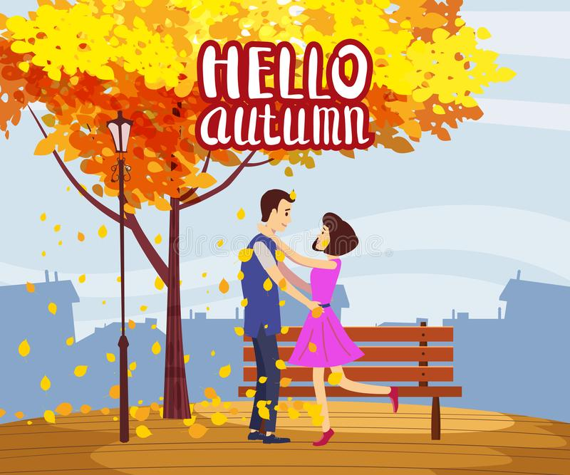 Autumn fall meeting lovers couple in the park autumn branches of falling leaves foliage romantic love mood. Isolated. Autumn fall meeting lovers couple in the stock illustration