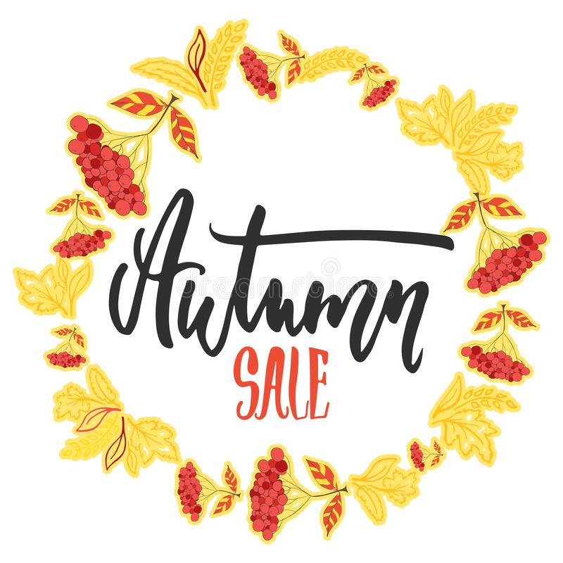 Autumn Fall Sale - hand drawn latin lettering quote with wreath from leaves isolated on the white background. Fun brush. Ink inscription for greeting card or stock illustration