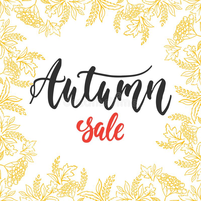Autumn Fall Sale - hand drawn latin lettering quote with wreath from leaves isolated on the white background. Fun brush. Ink inscription for greeting card or royalty free illustration