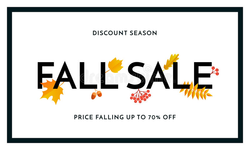 Autumn fall sale maple leaf poster autumnal shopping promo discount banner online store stock illustration