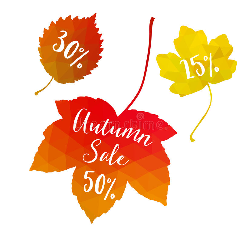 Autumn fall sale, polygonal maple leaves, discount tags, elements. Seasonal promotion concept. Modern design. Autumn fall sale. Polygonal maple leaves, discount royalty free illustration