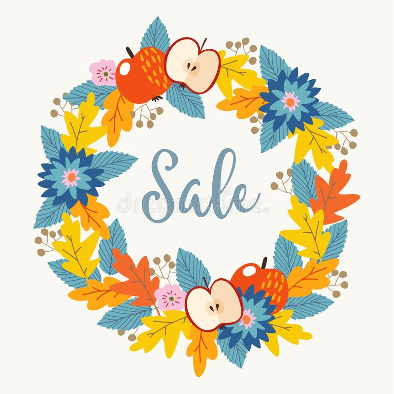 Autumn, fall sale poster with hand drawn floral wreath made of colorful oak leaves, berries, flowers and apple fruit. Vector illustration background stock illustration