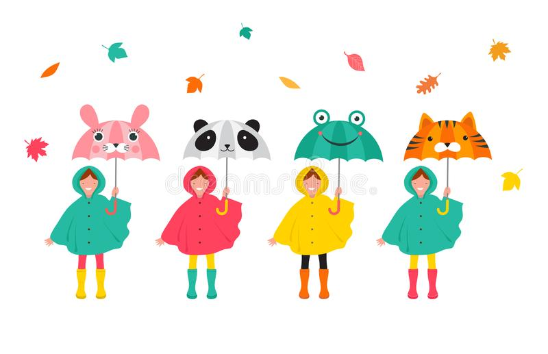 Autumn, fall scene with various cute kids, boys and girls in colorful raincoats having fun, playing with autumn leaves royalty free illustration