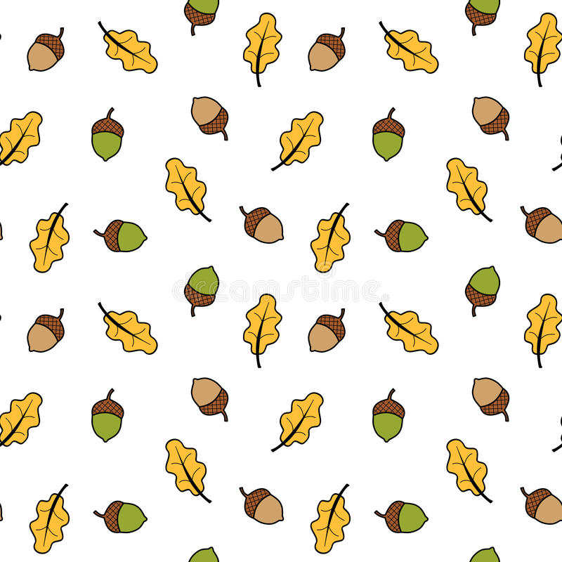 Autumn fall seamless pattern background illustration with acorns and leaves. Autumn fall seamless vector pattern background illustration with acorns and leaves royalty free illustration