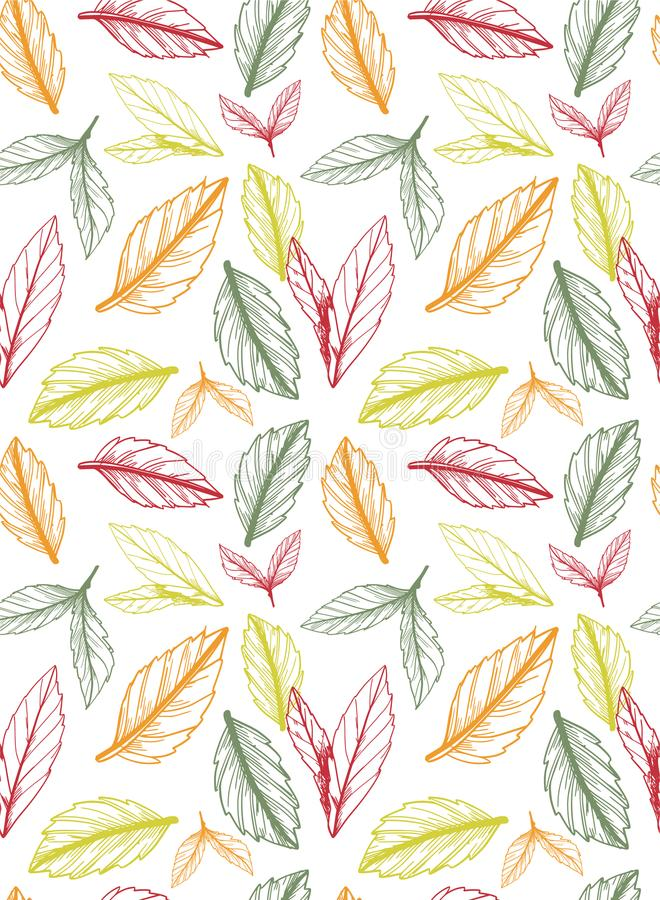 Autumn / fall seamless pattern created out of hand sketched leaves. In random order on white background royalty free illustration
