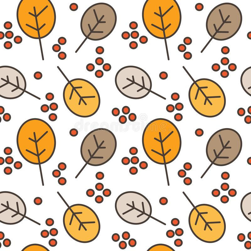 Autumn fall seamless vector pattern background illustration with berries and leaves stock illustration