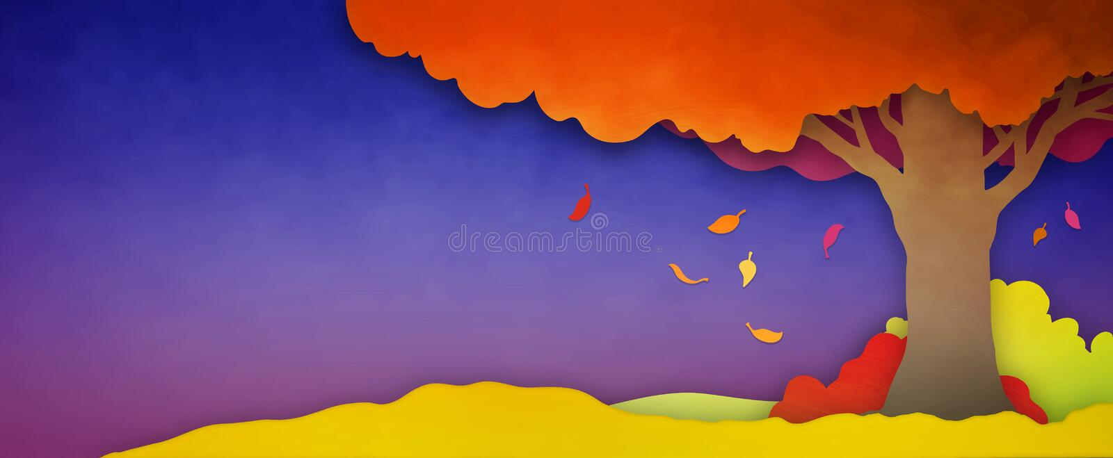 Autumn or fall season background landscape with falling leaves from colorful tree in orange yellow red and pink colors on purple b royalty free illustration