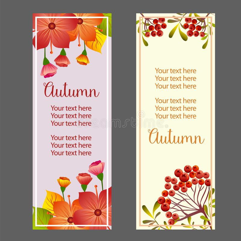 Autumn fall season plant vertical banner stock illustration