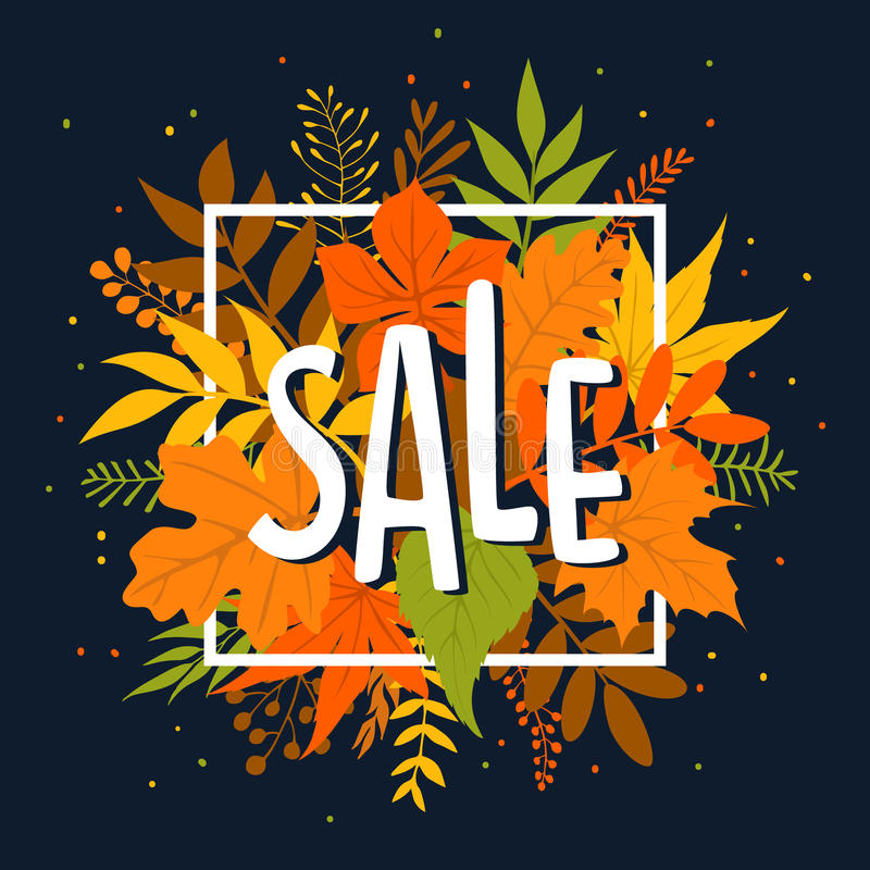 Autumn fall season sale banner with leaves and twigs. Branches stock illustration