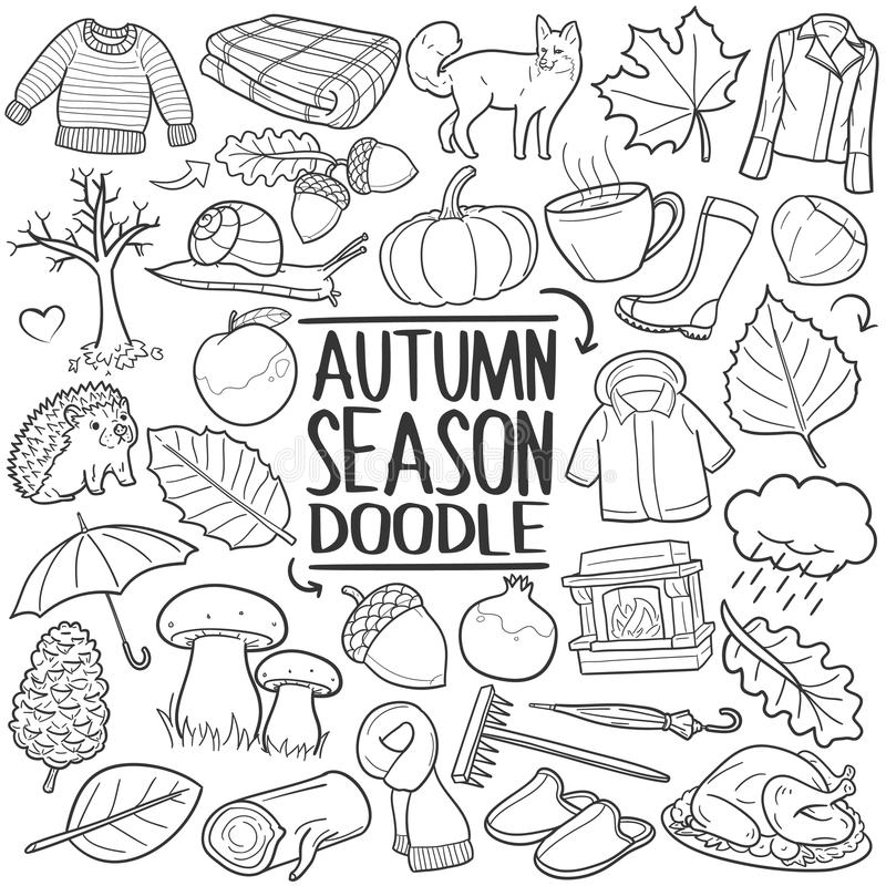 Autumn Fall Season Traditional Doodle symboler skissar handen - gjord designvektor royaltyfri illustrationer