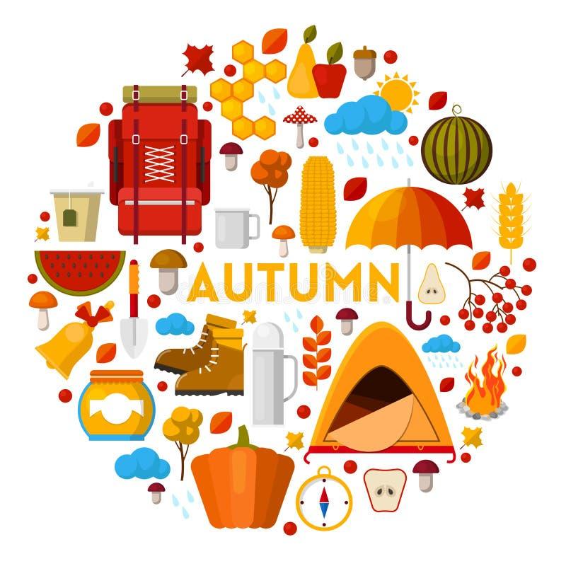 Autumn Fall Seasonal Icons Set med regnigt väder och campa utrustning vektor illustrationer