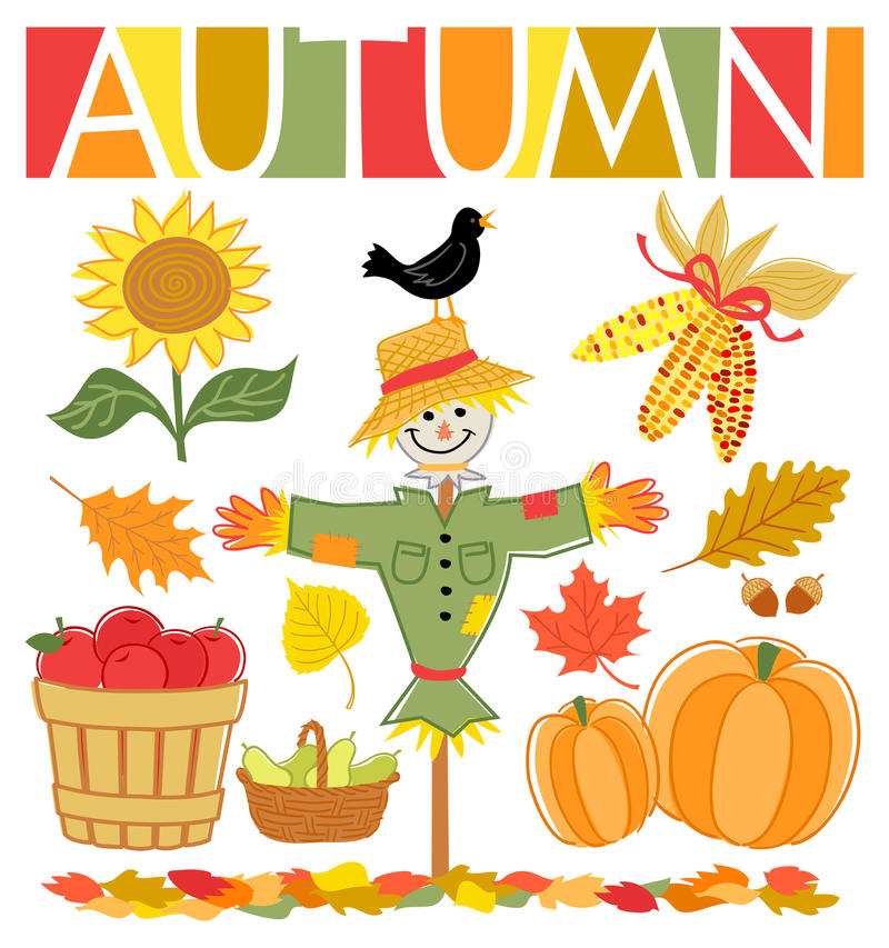 Autumn Fall Set/eps. Illustrations of autumn icons including a scarecrow, indian corn, leaves, sunflower, harvested apples, pears and pumpkins