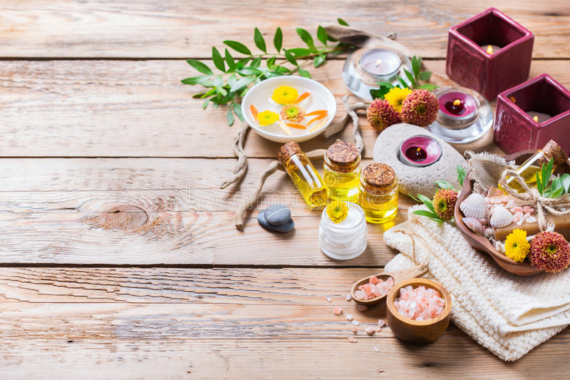Autumn fall spa wellness setting concept, wooden background stock images