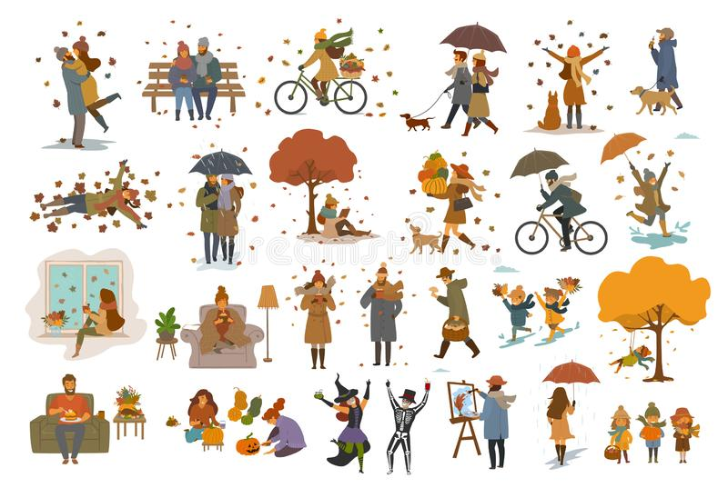 Autumn fall thanksgiving Halloween people outdoor and at home cartoon vector illustration set. Man woman couples children walk with umbrellas, dogs, spend time stock illustration