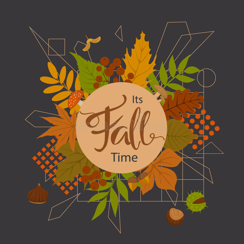 Autumn fall time park forest leaves arrangement with geometric elements on black background. Its autumn fall time park forest leaves arrangement with geometric stock illustration
