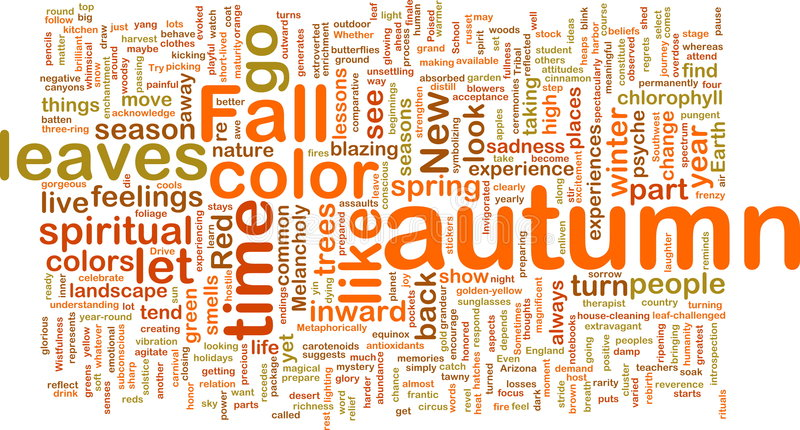 Another Word For Falling: Autumn Fall Wordcloud Stock Illustration. Image Of