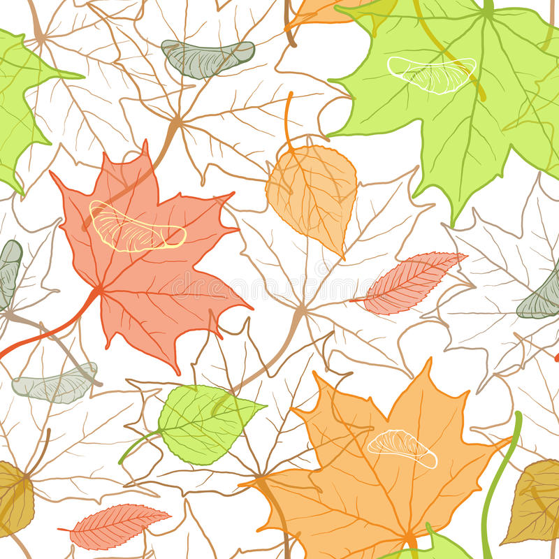 Autumn Fallen Leaves Hand Drawn Pattern. Autumn colorful seamless pattern with hand drawn fallen leaves on white background. Vector sketch background. Seasonal vector illustration