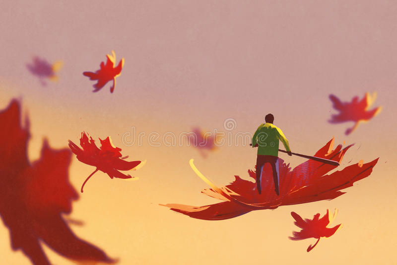 Autumn falling,small man rowing maple leaf floating in the sky. Illustration painting royalty free illustration