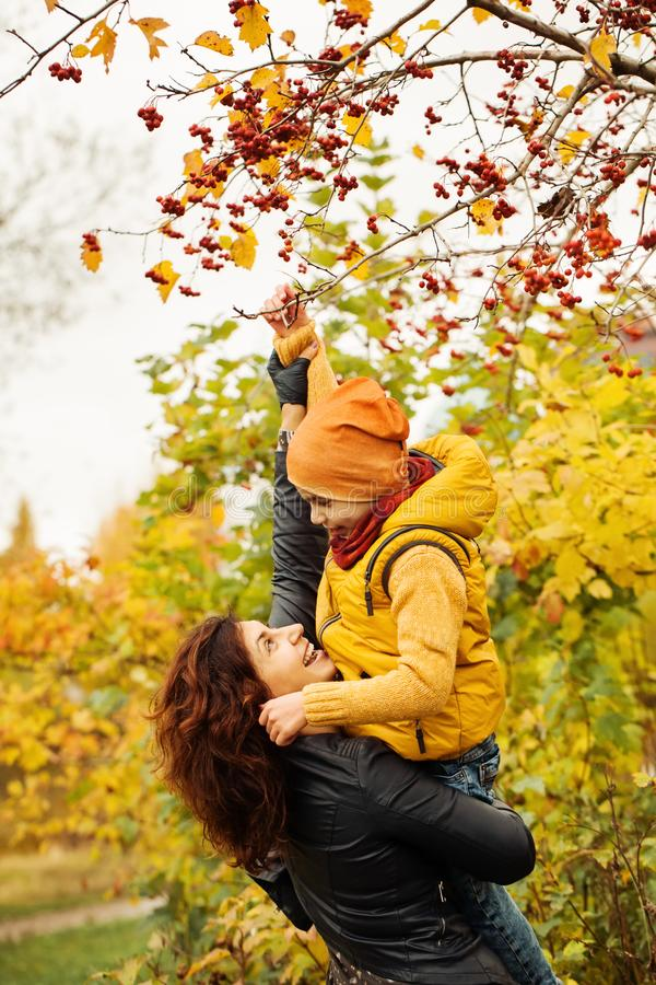 Autumn Family in Dalingspark in openlucht royalty-vrije stock fotografie