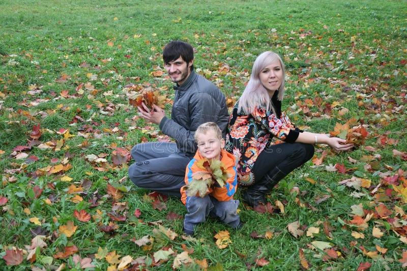 Autumn family sit royalty free stock photography