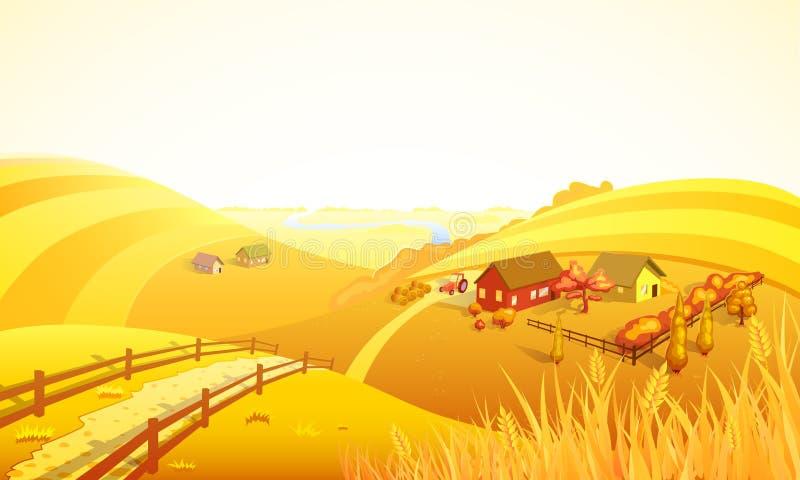 Autumn Farm Landscape Composition vector illustration
