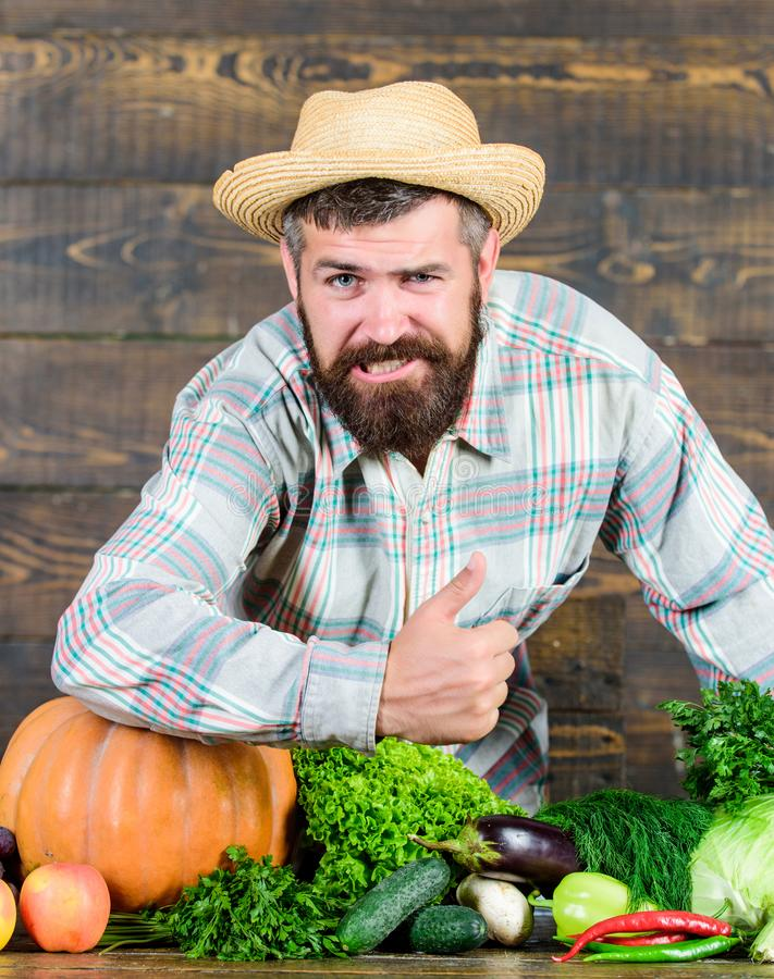 Autumn on the farm. man chef with rich autumn crop. organic and natural food. happy halloween. bearded mature farmer. Seasonal vitamin food. Useful fruit and stock photos