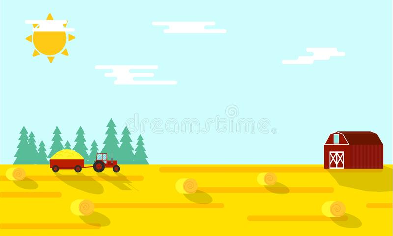 Autumn Farming Harvest Time Flat-Illustratie vector illustratie