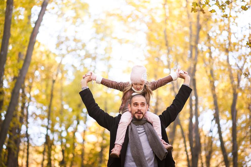 Autumn fashion for children and the whole family. A small daughter sits on the shoulders of the father in the neck against the bac stock image
