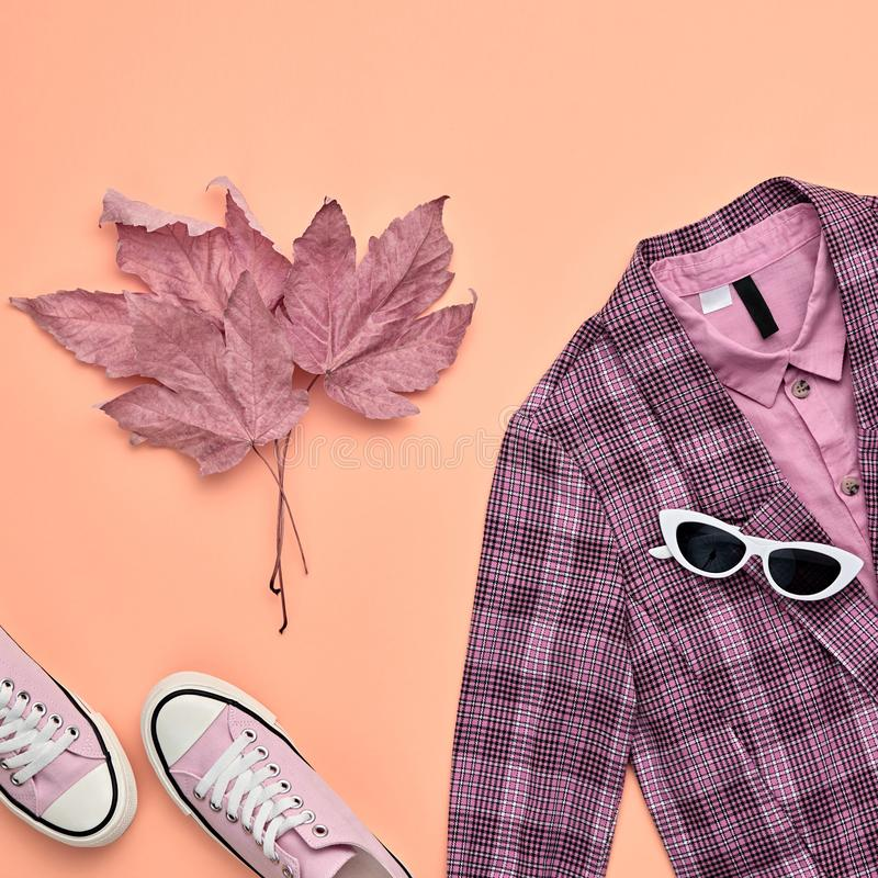 Autumn Fashion Clothes Flat lay, Leaf. Fall Outfit. Autumn Arrives. Fall fashion Clothes Accessories Outfit, Maple Leaf. Creative minimal Flat lay. Trendy pink stock photos