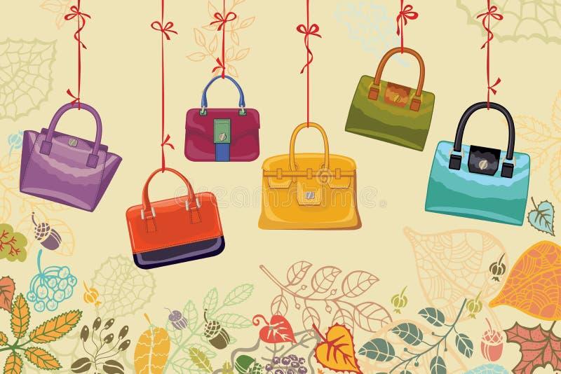 Autumn Fashion Confine delle borse e delle foglie delle donne illustrazione di stock