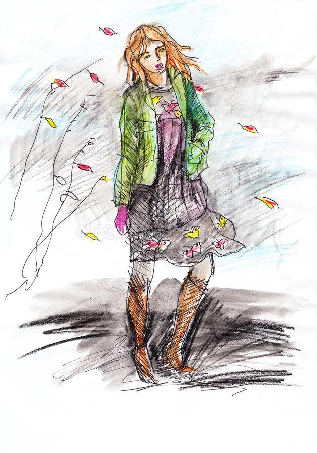 Autumn fashion - hand drawn beautiful woman in green jacket and a dress. royalty free stock photos