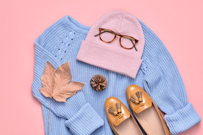 Autumn Fashion Lady Clothes Set, Blad wijnoogst stock fotografie