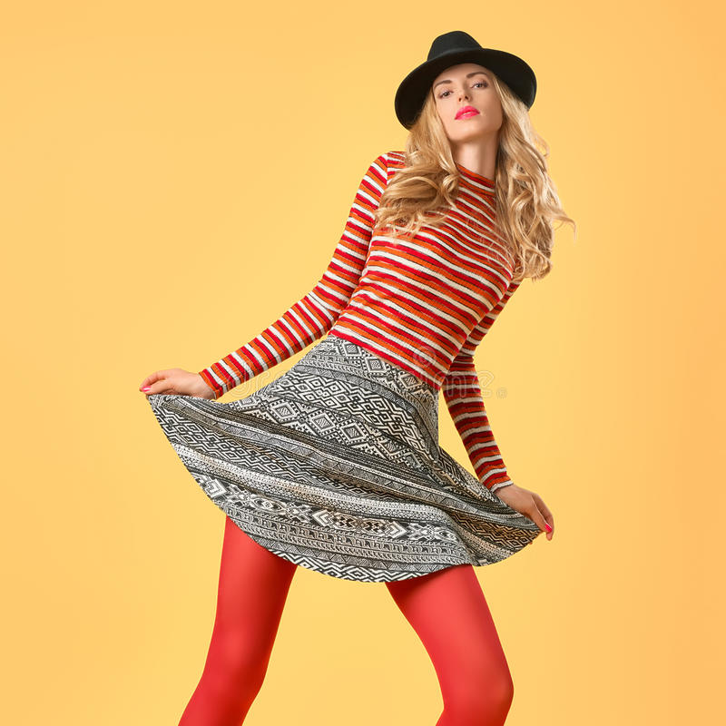 Autumn Fashion. Model Woman in Stylish Fall Outfit royalty free stock photos